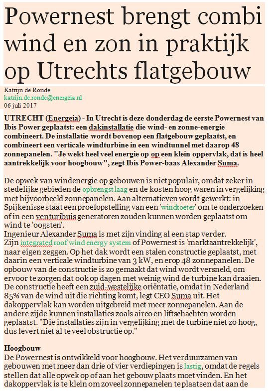 Energeia: Powernest brengt combi wind en zon in praktijk op Utrechts flatgebouw